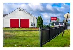 CubeSmart (Timothy Valentine) Tags: 2018 0818 large fence friday corner sign building red eastbridgewater massachusetts unitedstates us