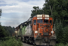 Blasting Through the Woods (ac1756) Tags: wc wisconsincentral emd gp30 703 34 lo34 millecoquinlake michigan