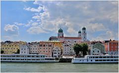 Passau (Gabi Wi) Tags: passau bavaria germany danube donau river fluss rivernavigation schifffahrt townscape stadtansicht housefacades häuserfassaden colors farben cathedral dom domststephan stephansdom