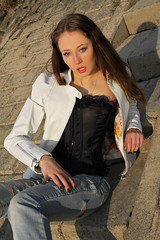 Tatjana 64 (The Booted Cat) Tags: sexy teen model girl leather jacket jeans brunette hair