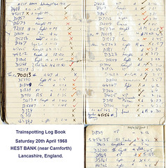 Trainspotting Notebook 20.4.68 at Hest Bank, Lancashire: 3.5 months before end of B.R. steam operations. (Brit 70013 fan) Tags: hestbank lancashire lancaster carnforth logbook notebook trainspotting railway britishrailways br 1968 morecambe branch steam engine diesel westcoastmainline