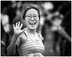 """Smile at strangers and you just might change a life."" – Steve Maraboli (gro57074@bigpond.net.au) Tags: racecharacter runner bw woman candidportrait portrait street monochrome blackwhite f28 70200mm nikor d850 nikon 2018sydneyhalfmarathon 2018citytosurf happy smile"
