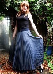 Another Karen Millen (Amber :-)) Tags: long denim sunray pleated skirt tgirl transvestite crossdressing