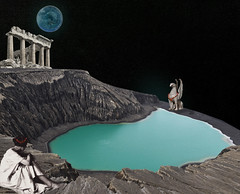 once in a blue moon (yumikrum) Tags: yumikrum collage art surrealism myth mythology dream olympus ancient greece seer prophet mt goddess supernatural blue moon night mystery beast visit occult stranger unknown
