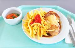 """Pork steak """"Tessin"""", gratinated with ham, tomato & cheese with gravy & french fries / Schweinesteak """"Tessin"""" mit Tomate, Schinken & Käse gratiniert, dazu Bratensauce & Pommes Frites (JaBB) Tags: steak schweinesteak pommsfrites frenchfries ketchup bratensauce gravy erbsenpeas möhren carrots käse cheese ham schinken gemüse vegetables food lunch essen nahrung nahrungsmittelmittagessen kantine betriebsrestaurant"""