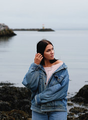 Lea (livsillusjoner) Tags: woman women girl girls young beauty beautiful pretty naturallight outside outdoors outdoor friend panasoniclumix panasonic lumix olympus brunette jeans jeansjacketblue water ocean fjord sky landscape