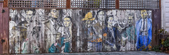 forgotten warriors (pbo31) Tags: bayarea california nikon d810 color august 2018 summer boury pbo31 sanfrancisco city urban missiondistrict mural art alley panoramic large stitched panorama fence brown faded weathered