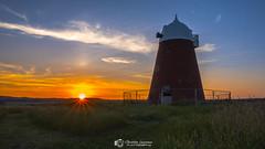 Halnaker sunset sunburst (Christian Lawrence Photography) Tags: halnaker west sussex sunset windmill xt2 landscape field clouds contrail