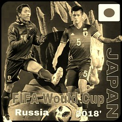 FIFA Would Cup Russia  Soccer JAPAN 2018' Decoration Art  ワールドカップ初戦試合で日本は勝って後2試合も勝利はディフェンス、日本センターバック代表選手を編集加工しました。 (nodasanta) Tags: instagramapp square squareformat iphoneography uploaded:by=instagram