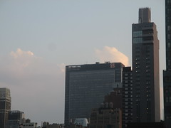 2018 August Evening Clouds 7793 (Brechtbug) Tags: 2018 august evening clouds virtual clock tower from hells kitchen clinton near times square broadway nyc 08162018 new york city midtown manhattan summer summertime weather building pink low hanging cloud hell s nemo southern view ny1rain