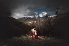 Red, White and Blue ({jessica drossin}) Tags: jessicadrossin sky mountains woman wwwjessicadrossincom clouds alone lonely exposed portrait sunlight nature landscape portraiture