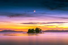 sunset 3604 (junjiaoyama) Tags: japan sunset sky light cloud weather landscape orange yellow pink blue contrast color bright lake island water nature summer calm dusk serene reflection moon crescentmoon