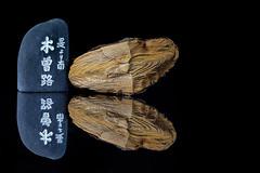 Kiso Road Wood and Stone (KellarW) Tags: edo kisoroad marker souvenir wooden preciouswood macromonday koyamaki woodandstone texture sawara onblack asuhi trinket macromondays hinoki samurai reflected japanesecypress wood stone nezuko japan shogun