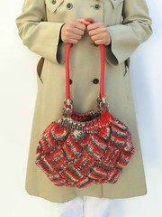 Shoulder Bag Knitted in Variegated Coral Red Wool (brandacrafts) Tags: branda knits tote bag purse entrelac coral