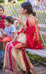 1354_0185FL (davidben33) Tags: newyork manhattan summer washington square park grass trees flowers people crowd women girls street streetphotos festive dance music joy beauty fashion colors 718 kharakrishna festival