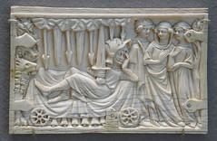 Ivory relief sculpture from a coffret - Ganvan au lit périlleux - Paris, ca. 1340-1350 (Monceau) Tags: ivory carved relief sculpture plaque coffree box ganvanaulitpérilleux man lounging rolling bed cart 14thcentury