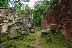 Ruins of Preah Khan temple in Angkor Archeological Park near Siem Reap, Cambodia (UweBKK (α 77 on )) Tags: preah khan preahkhan temple ruins ancient history angkor archeological park buddha buddhist buddhism hindu hinduism religion religious green trees stone wall carvings siem reap siemreap cambodia southeast asia sony alpha 77 slt dslr