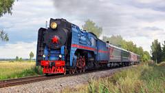 For the 150th anniversary of Northern Railway... (Alexander Fomichev) Tags: steamlocomotive p36 p360027 nerekhta skyline cloudy smoke passengertrain retrotrain helios clouds summer