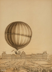 Drawing by an unknown artist, the illustration depicts the first manned gas balloon flight by Jacques Charles and Marie-Noel Robert, ascending from the Tuileries Gardens, Paris, with the Versailles Palace in the background. Original from Library of Congre (Free Public Domain Illustrations by rawpixel) Tags: achievement air antique art balloon charles copyspace floating france gas historical history hotairballoon hydrogen illustrated illustration jacques jacquescharles marienoelrobert marienoel moment nicolas old palace paris robert science scientific sketch spectators versailles versaillespalace vintage
