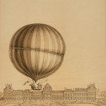 Drawing by an unknown artist, the illustration depicts the first manned gas balloon flight by Jacques Charles and Marie-Noel Robert, ascending from the Tuileries Gardens, Paris, with the Versailles Palace in the background. Original from Library of Congre thumbnail