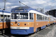 US PA Philadelphia SEPTA-PSTC Red Arrow 7 Brilliner 4-15-1978 69th St (David Pirmann) Tags: pa pennsylvania philadelphia septa redarrow pstc philadelphiasuburbantransco interurban train trolley tram transit railroad