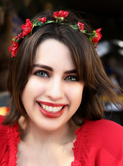Pretty In Red (wyojones) Tags: texas texasrenaissancefestival toddmission texasrenfest renfest renfaire renaissancefaire faire renaissancefestival festival trf girl woman brunette maiden cute pretty lovely gorgeous beautiful beauty blueeyes smile headband flowers blouse red eyes wyojones