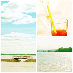 Live in the sunshine, swim the sea, drink the wild air. (mintukka) Tags: summer bridge sea clouds collage pastel soda light summercollage tones summertime heat swim vacation