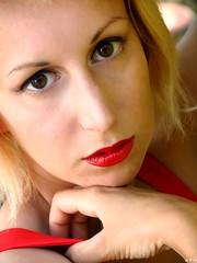 Blonde girl. (KurenaiSutcliff) Tags: model sensual makeup blonde blondegirl girl sexy red redlips pin up pinup lady photoset photoshoot lovely lovelygirl polka dot dotty 50s 40s blondehair elegant 50style 50stylehair woman shorthair short hair photo photogirl redlip street streetwear