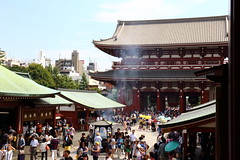 Rising Smoke (j.farrimond) Tags: japan tokyo travel movement international temple smoke tradtional architecture people crowds worship shrine bright blue red canon l series