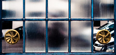 Warm and Cold 1 (Re-edit) (ALGHIME) Tags: fan fans blue yellow reflection reflections window windowsill windows sill