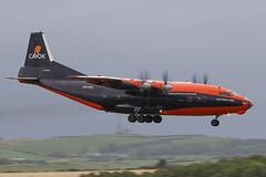 Cavok AN-12 (Dougie Edmond) Tags: prestwick scotland unitedkingdom gb plane soviet aircraft airplane airport egpk pik smoke
