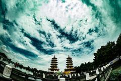 Open the Sky (jeremy_d_smith) Tags: fuji fujifilm fujixt1 fujixseries fujilove rokinon 8mm fisheye sky pagoda dragontigerpagoda clouds dramatic kaohsiung taiwan lotuslake travel