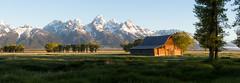 T.A. Moulton Panorama (~Arles) Tags: wyoming grandtetonnationalpark mormonrow barn building field grandteton teton morning sunrise