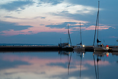 (Sacha dR) Tags: boat jetty yacht peer sky sunset long exposure night clouds pink mast light reflection blur shore harbour harbor lake balaton hungary sail