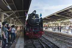 Steam locomotive in Thailand (Flutechill) Tags: railroadtrack train transportation station railroadstationplatform locomotive steamtrain travel modeoftransport people railroadstation railroadcar steel engine steam speed passenger journey old peopletraveling bangkok thailand hualampong bangkokrailwaystation