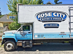 """""""Moving Day"""" (Halvorsong) Tags: truck transportation moving summer summertime art composition contrast explore discover fun wow sign signs signage ad advertisement advertising oregon usa america americana old vintage classic oldschool labor frame framed color blue rosecity suburb suburbs suburbia business city urban road roadside streetshot street"""