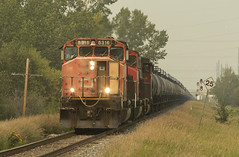 SD's and Cans (Trevor Sokolan) Tags: canadian canada cn cnr canadiannational l511 sd402w sd402 sd dash2 gmd emd generalmotors diesel locomotive local vegrevillesub signal tankcar tanks trains train trainspotting tracks alberta ab railway railroad railfan rail railfanning