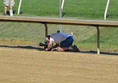 2018-08-04 (20) photographer getting down at Laurel Park (JLeeFleenor) Tags: photos photography md maryland marylandracing marylandhorseracing laurelpark photographer outside outdoors