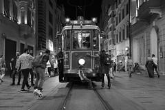 TRAM (K.BERKİN) Tags: walk way turkey tourism tram human oldcity oldistanbul oldstreet people performer alpha street streetphoto streetphotograpy sony6300 sonyalpha dark goldenhorn life blackwhite istanbul city beyoglu mirroless