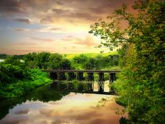 Railroad tracks 6 (mrbillt6) Tags: landscape prairie pipestemriver river railroadbridge tracks trees sky outdoors reflection