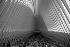 The Oculus (askhb55) Tags: futuristic modern bw wide 11mm 11 7100 d7100 nikon theoculus oculus lowermanhattan manhattan financial district onewtc world trade center wtc nyc newyorkcity newyork new york city iconic memorial blackandwhite people architechture 911 lower