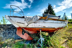 Yacht (enneafive) Tags: abandoned yacht sky blue bushes boat clouds texture hdr plants fujifilm xt2 decay