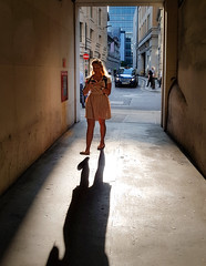 More light (Мaistora) Tags: street passage tunnel corridor alley city urban morning sunshine sunlight light darkness frame contrejour backlight backlit contour halo glow shine traffic pedestrians busy rushhour work office squaremile lady woman girl female walk walking phone read browse chat message text texting addict addiction moorgate london england uk britain mobile samsung galaxy s8 android lightroom luminar portrait candid shadows shadow perspective leadinglines vanishingpoint rays beams walls textures life