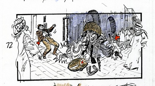 Storyboard from 1979 by Dave Negron of Indy's adventures. 8 of 9