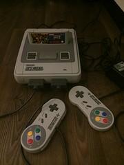SNES with two controllers (Mihnea Stanciu) Tags: snes nintendo supernintendo console game gaming games donkeykong donkeykongcountry retro controllers tech technology