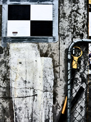 Please Do Not Remove Scanning Target (Steve Taylor (Photography)) Tags: pleasedonotremove scanningtarget tape digitalart fence chainlink construction black selectivecolour white yellow concrete newzealand nz southisland canterbury christchurch cbd city texture surveying paint crack