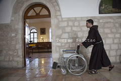 MAB_130210_0321 (Custody of the Holy Land - Photo Service (CPS)) Tags: holyland saintsavior saintsaviour stsavior stsaviour terrasanta terresainte worlddayofsick birthday elderlyfriar elderlyfriars franciscan wheelchair