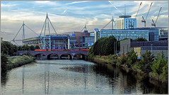 View along the Taff (Welsh Gold) Tags: 60001 6b47 westerleigh robeston oil tank train murco river taff cardiff city millenium priciplality stadium southwales