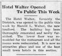 1921 - Harold Walter opens Walter Hotel was Dietrich Hotel - Enquirer - 21 Jul 1921