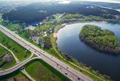Minsk (free3yourmind) Tags: minsk belarus xiaomi mi drone quadcopter aerial road highway lake island nature green city